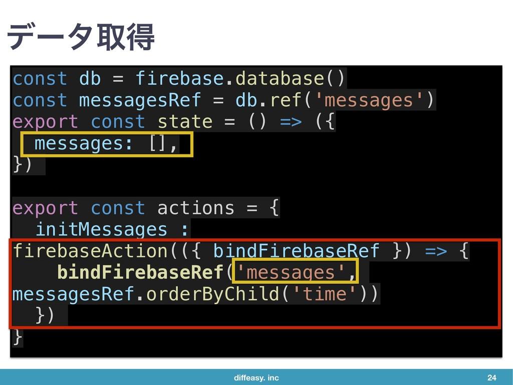 diffeasy. inc 24 σʔλऔಘ const db = firebase.datab...
