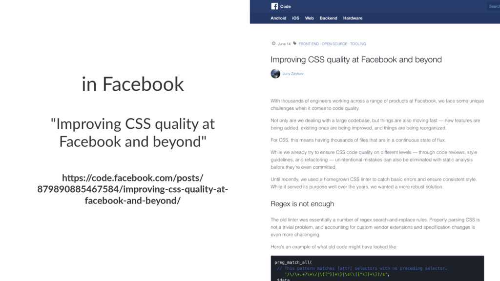 "in Facebook ""Improving CSS quality at Facebook ..."