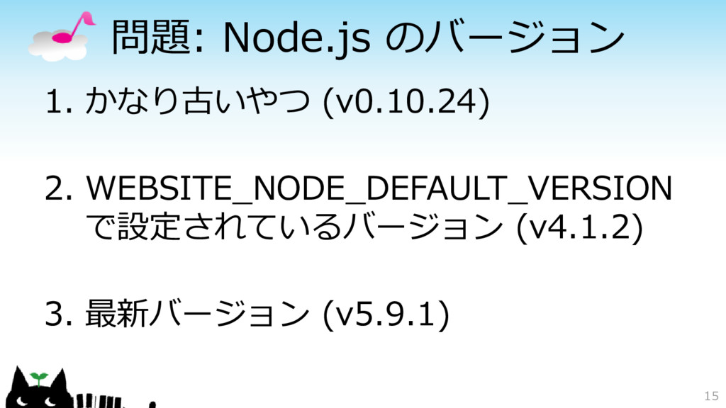 問題: Node.js のバージョン 1. かなり古いやつ (v0.10.24) 2. WEB...
