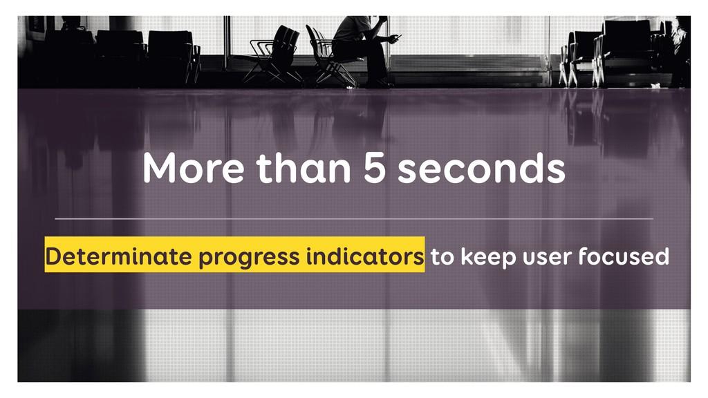More than 5 seconds Determinate progress indica...