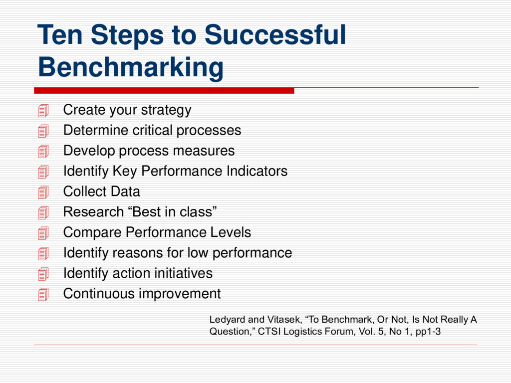 Ten Steps to Successful Benchmarking  Create y...