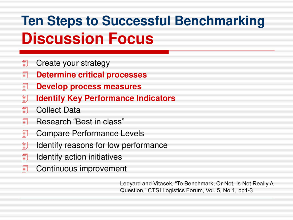 Ten Steps to Successful Benchmarking Discussion...