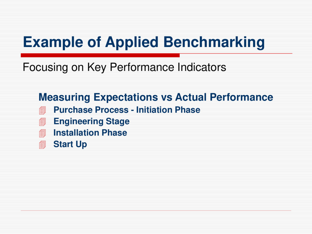 Example of Applied Benchmarking Focusing on Key...