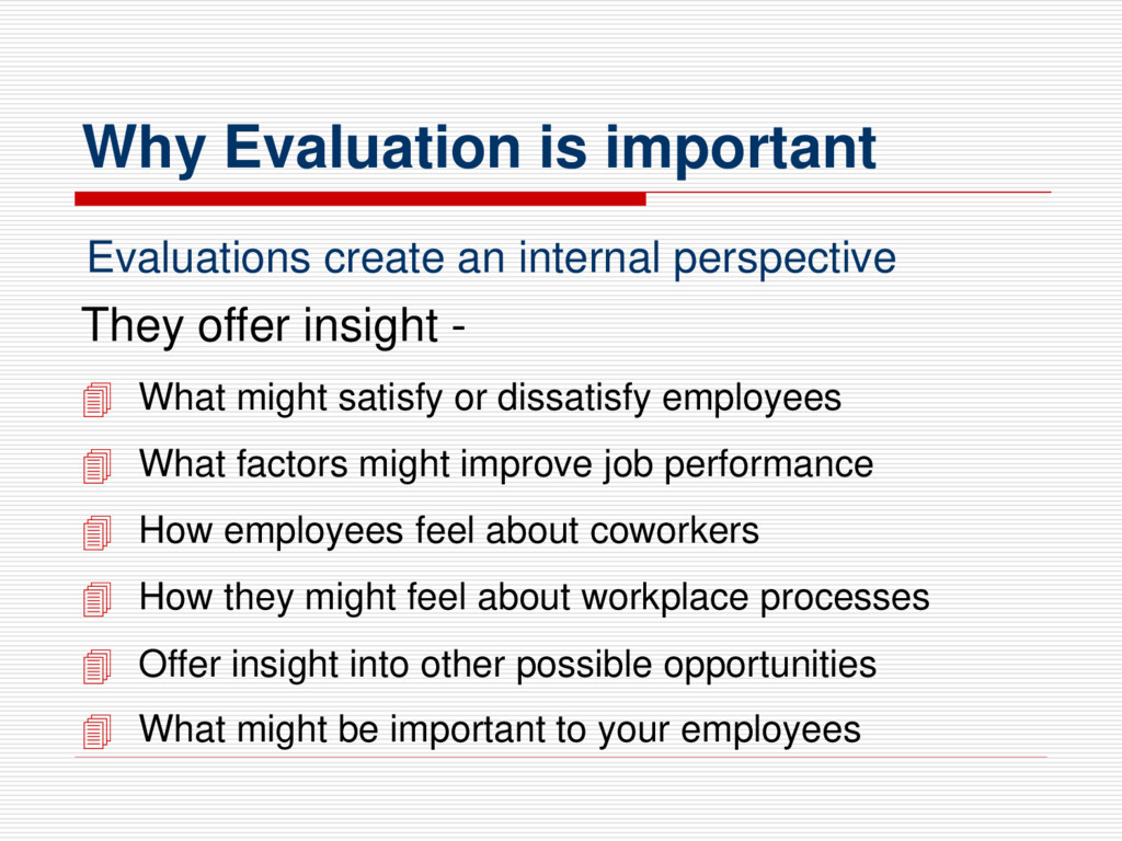 Why Evaluation is important They offer insight ...