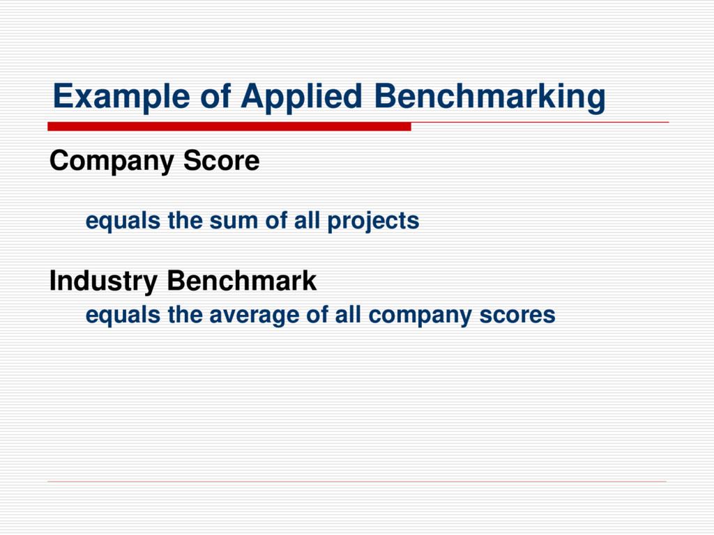 Example of Applied Benchmarking Company Score e...
