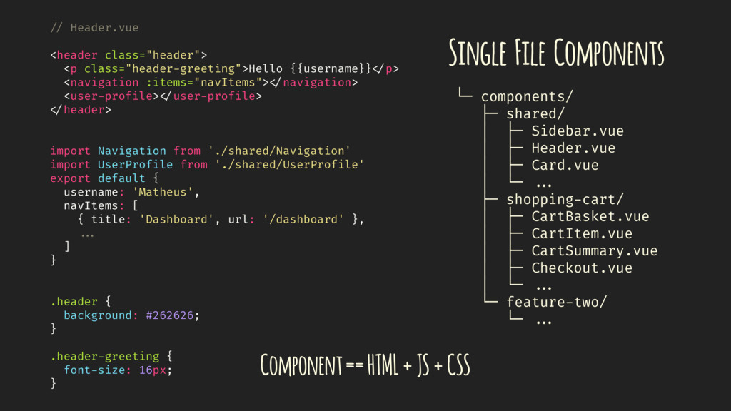 Single File Components └─ components/ ├─ shared...