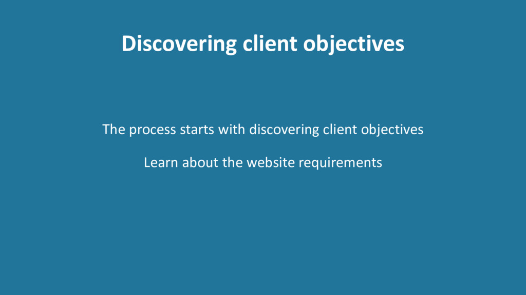 Discovering client objectives The process start...