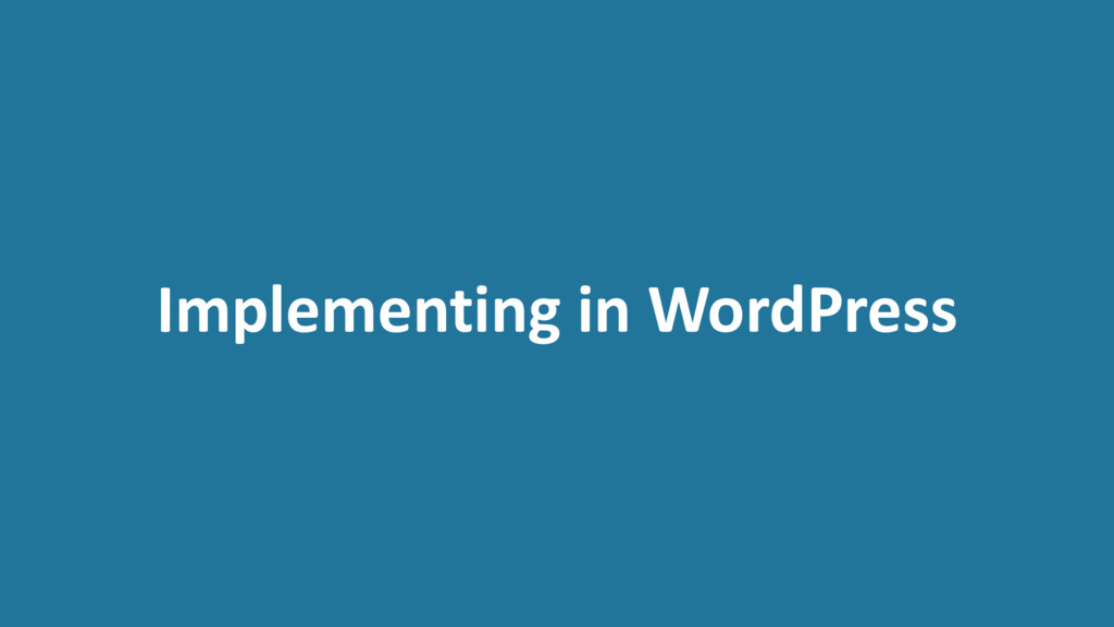 Implementing in WordPress