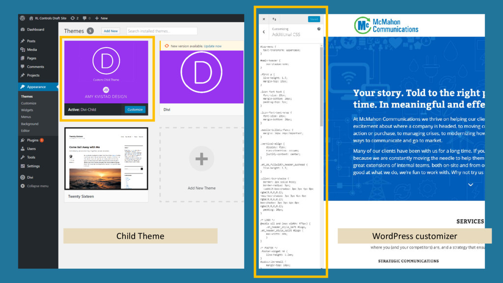 Child Theme WordPress customizer