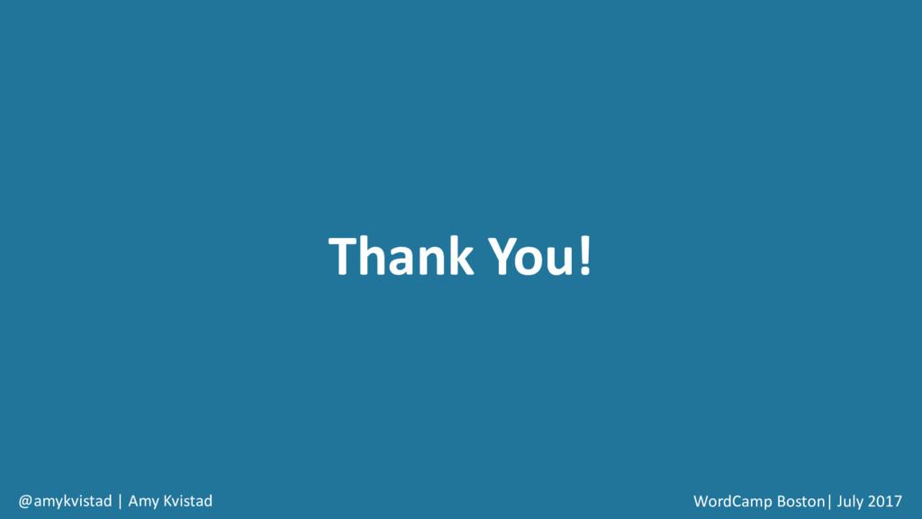 Thank You! WordCamp Boston| July 2017 @amykvist...