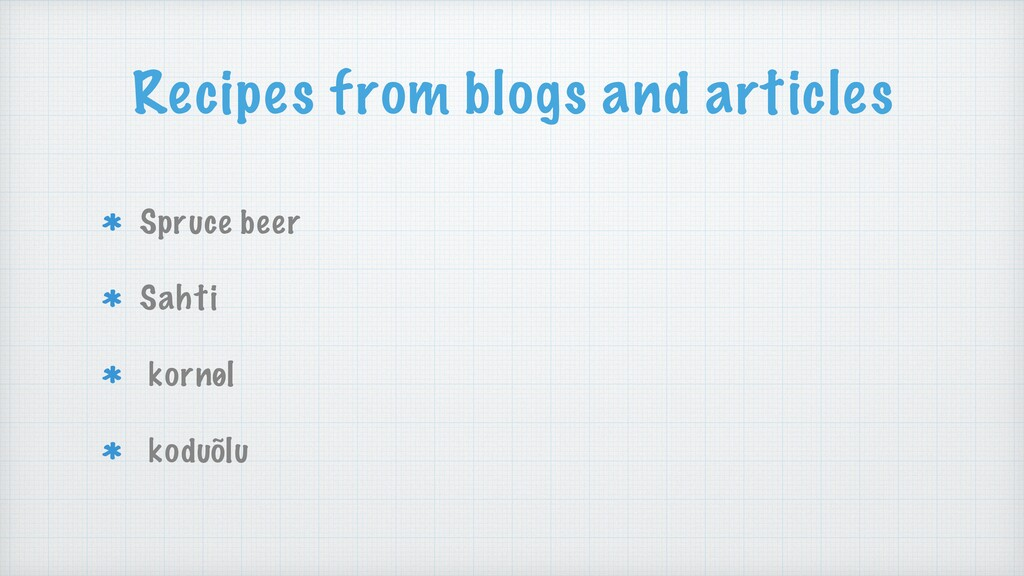 Recipes from blogs and articles Spruce beer Sah...