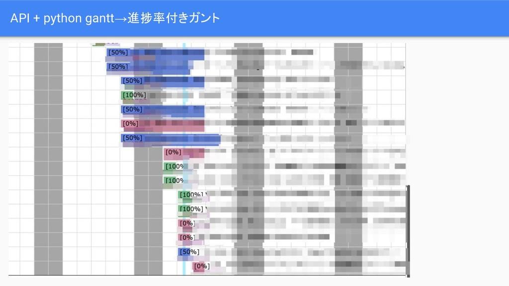 API + python gantt→進捗率付きガント