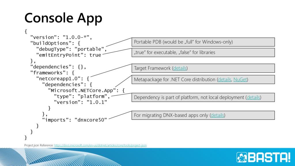 """Console App { """"version"""": """"1.0.0-*"""", """"buildOptio..."""