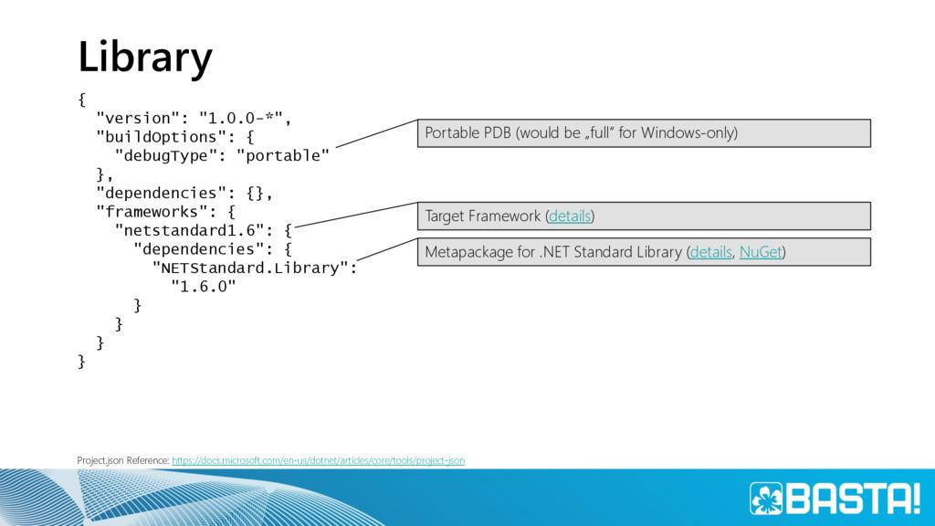 "Library { ""version"": ""1.0.0-*"", ""buildOptions"":..."