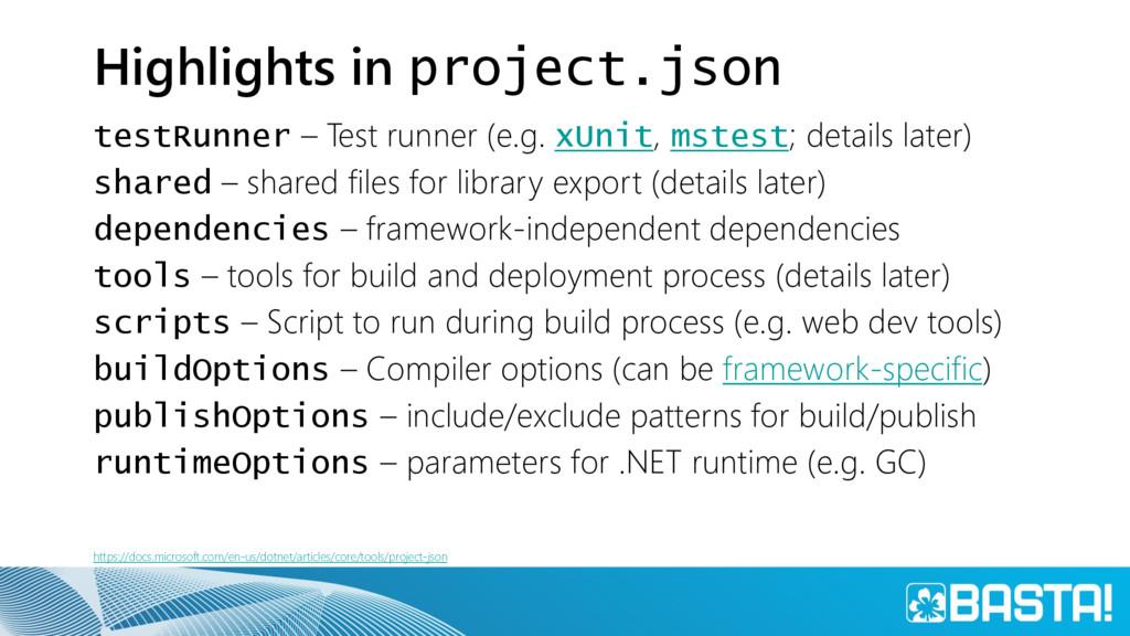 Highlights in project.json testRunner – Test ru...