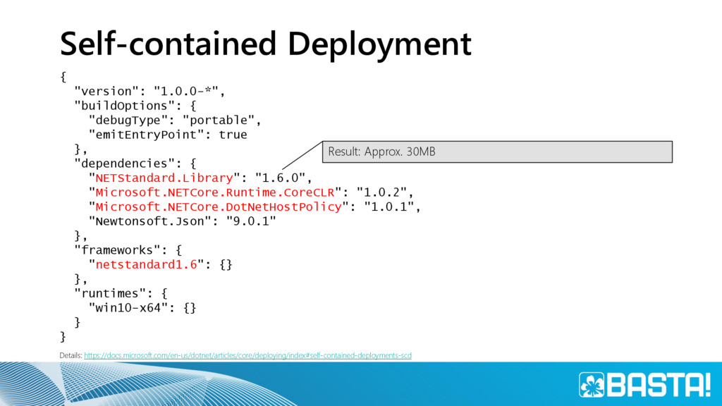 """Self-contained Deployment { """"version"""": """"1.0.0-*..."""