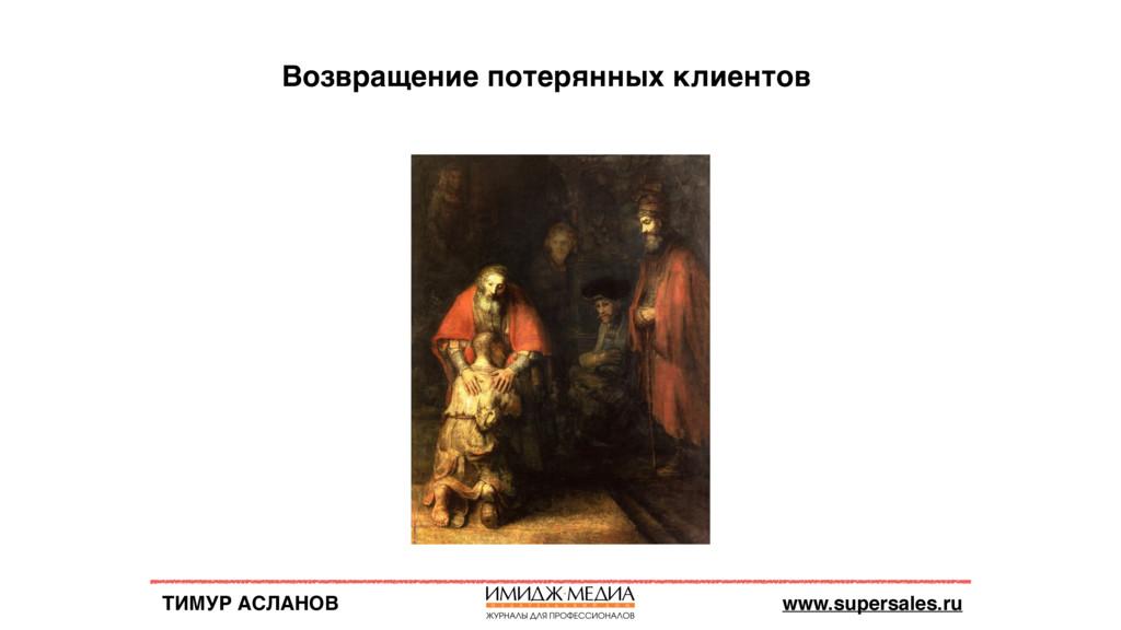 ТИМУР АСЛАНОВ www.supersales.ru Возвращение пот...
