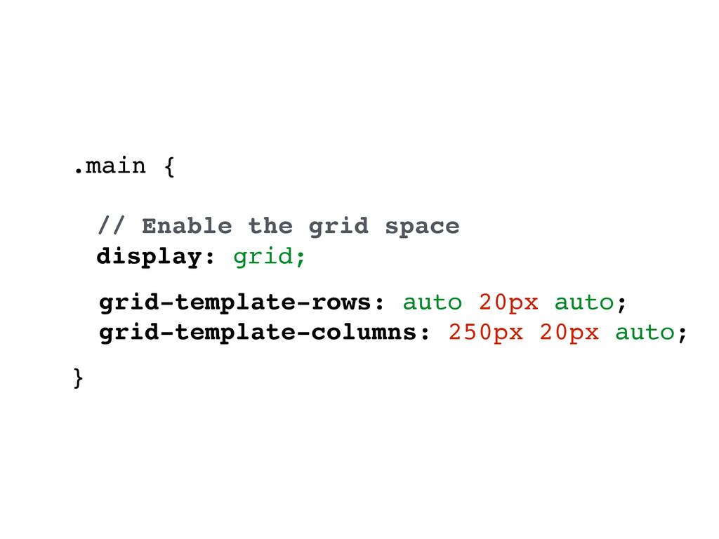 .main { // Enable the grid space display: grid;...