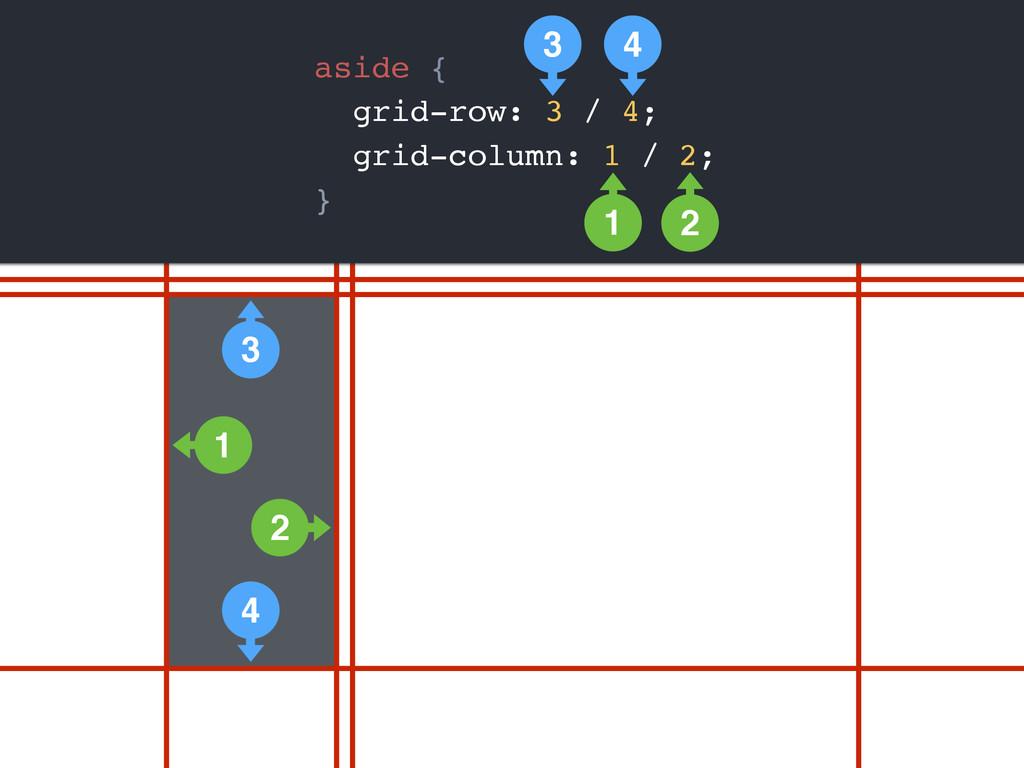 aside { grid-row: 3 / 4; grid-column: 1 / 2; } ...