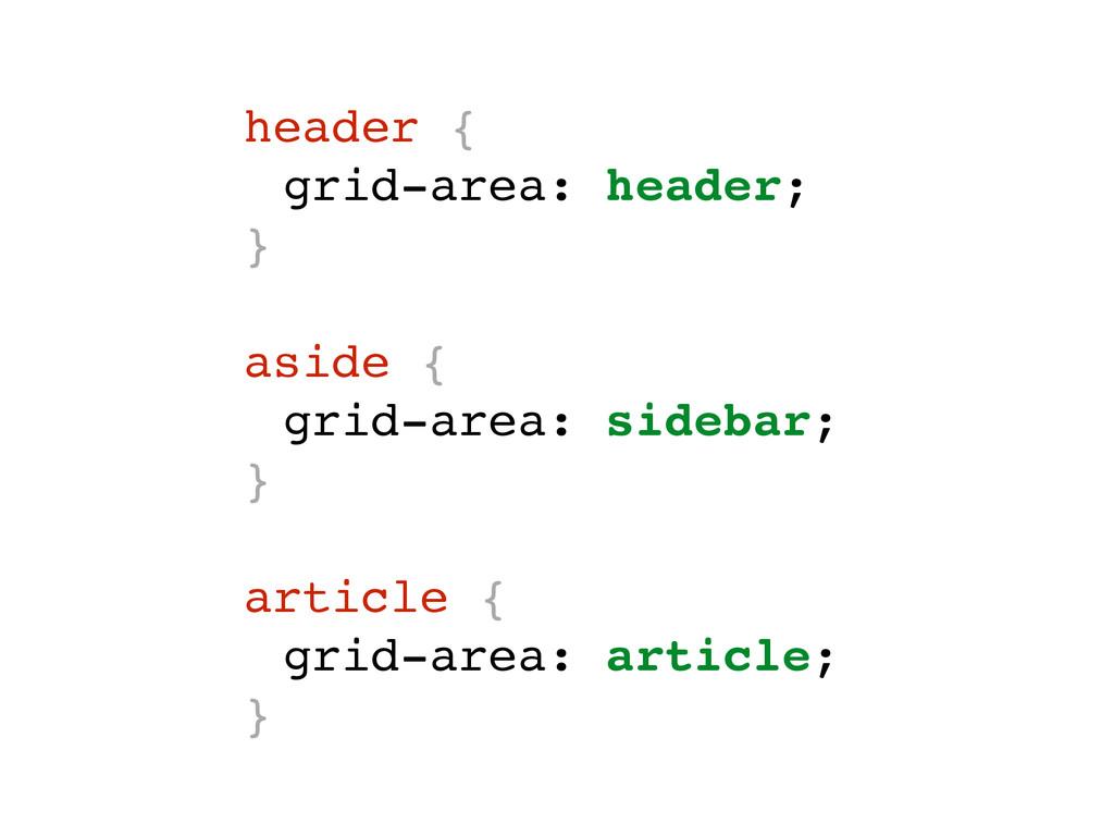 header { grid-area: header; } aside { grid-area...