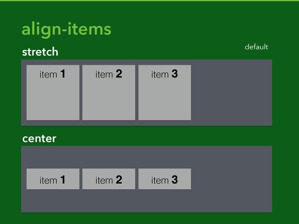 item 1 item 2 item 3 stretch default align-item...