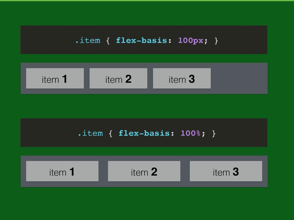 item 1 item 2 item 3 .item { flex-basis: 100%; ...