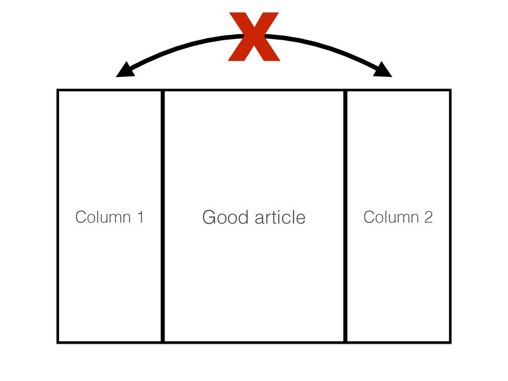 Column 1 Good article Column 2 X