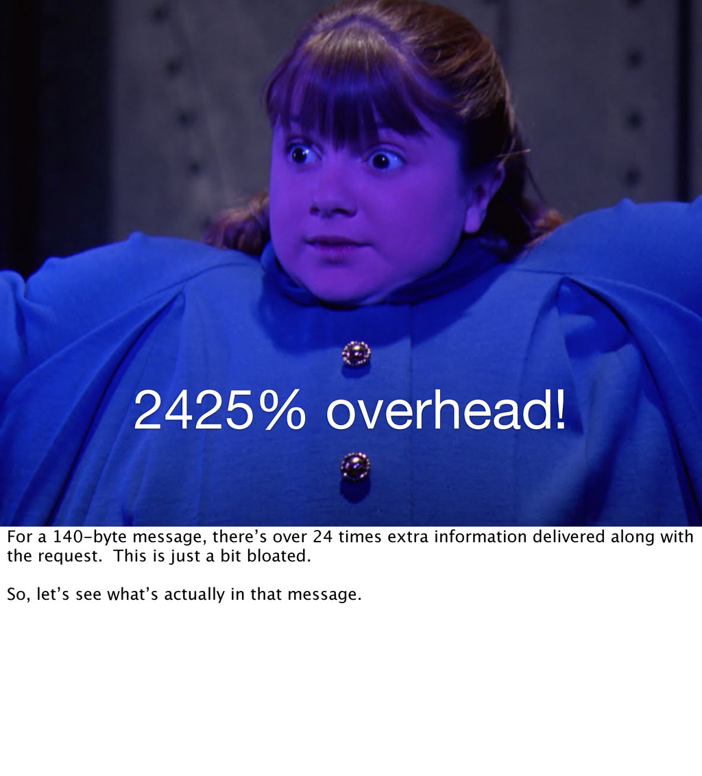 2425% overhead! For a 140-byte message, there's...