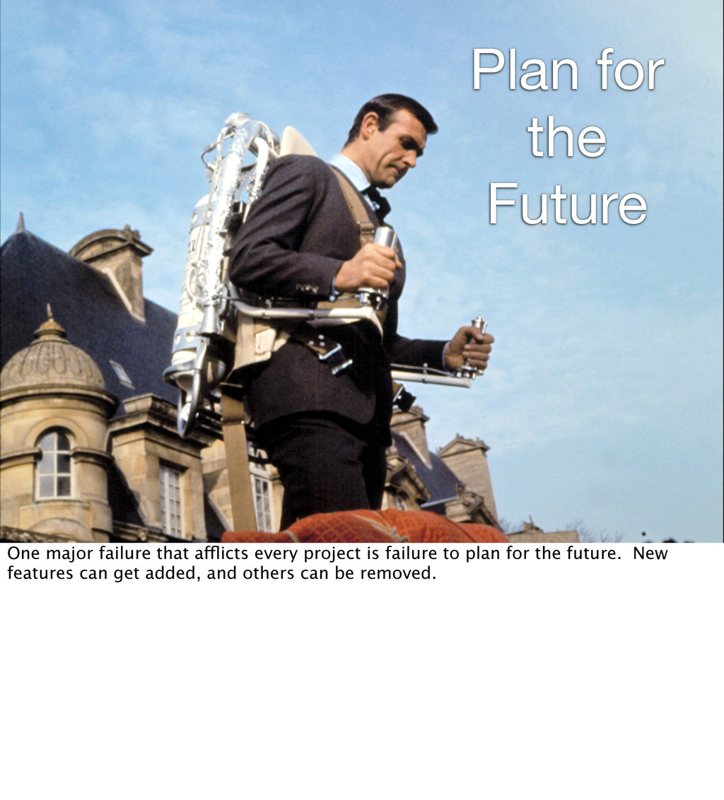 Plan for the Future One major failure that affl...