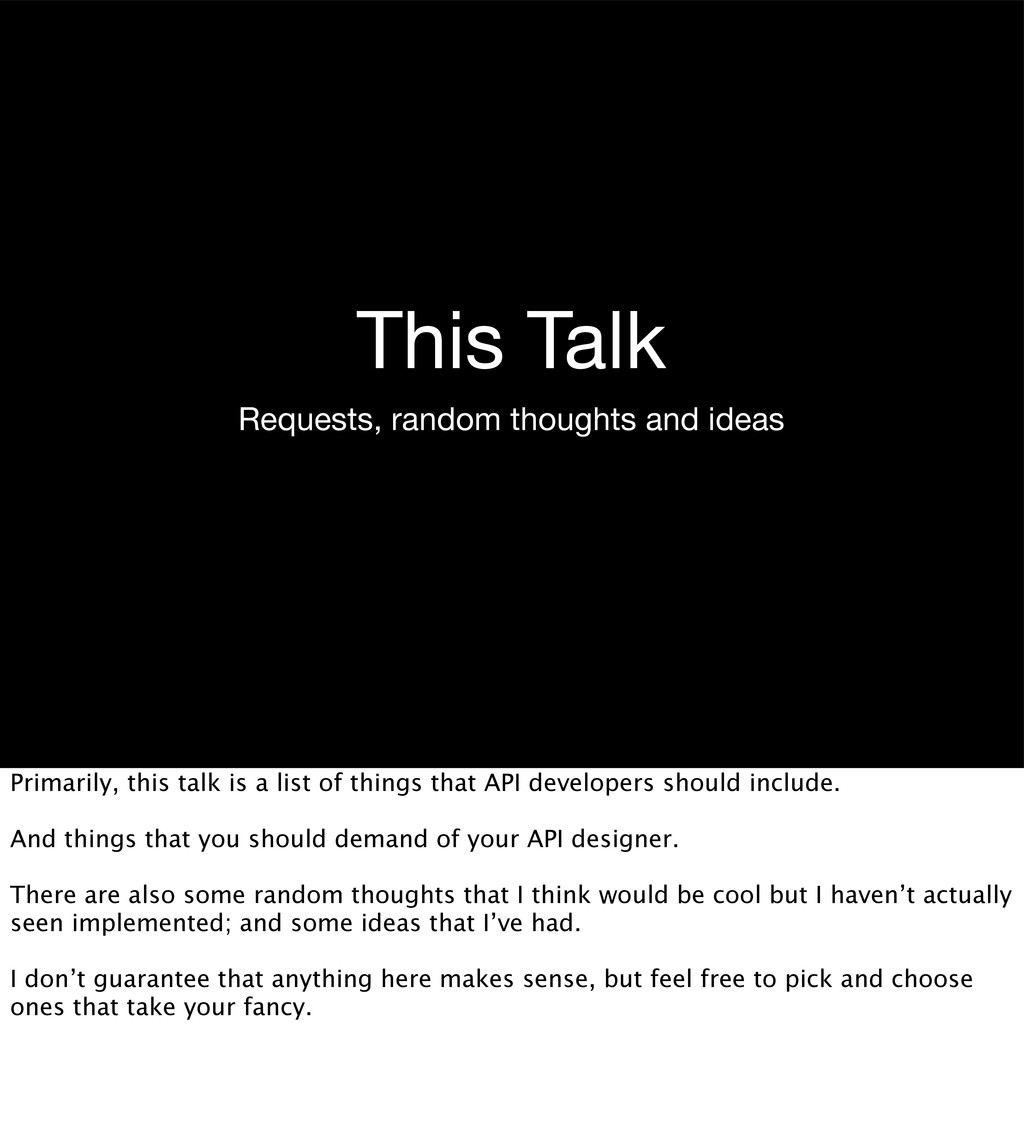 This Talk Requests, random thoughts and ideas P...