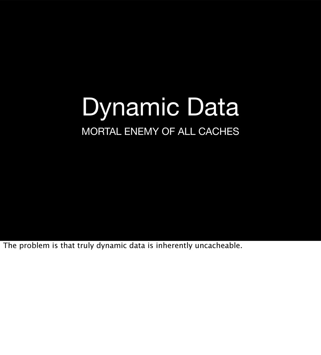 Dynamic Data MORTAL ENEMY OF ALL CACHES The pro...