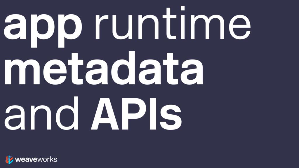 app runtime metadata and APIs