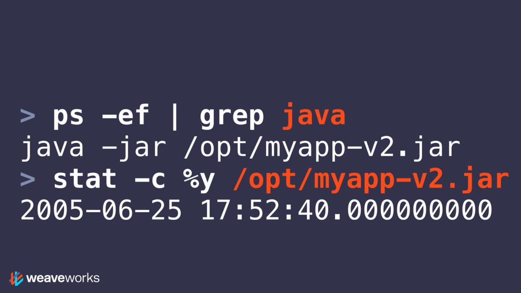 > ps -ef | grep java java -jar /opt/myapp-v2.ja...