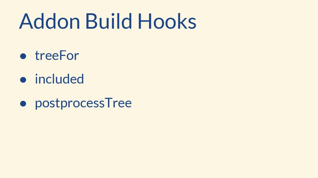 Addon Build Hooks ● treeFor ● included ● postpr...