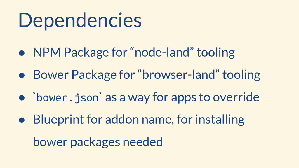 """Dependencies ● NPM Package for """"node-land"""" tool..."""