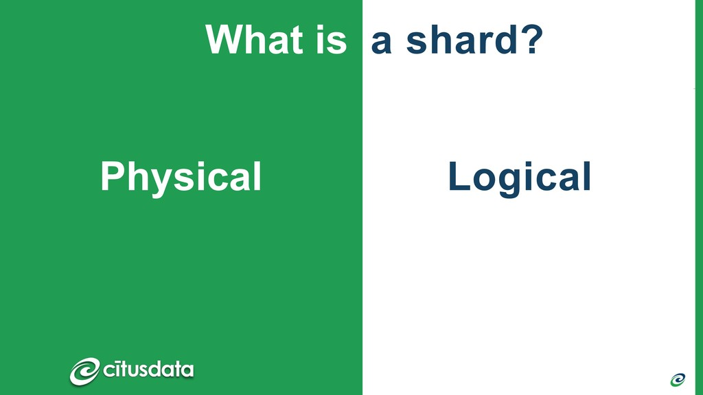 Logical Physical What is a shard?