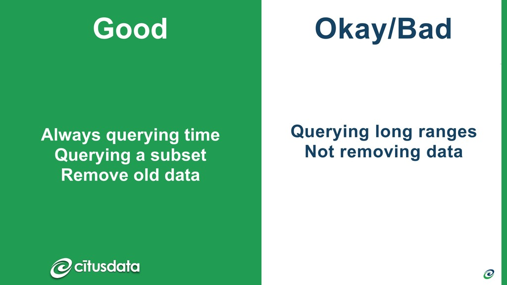 Querying long ranges Not removing data Always q...