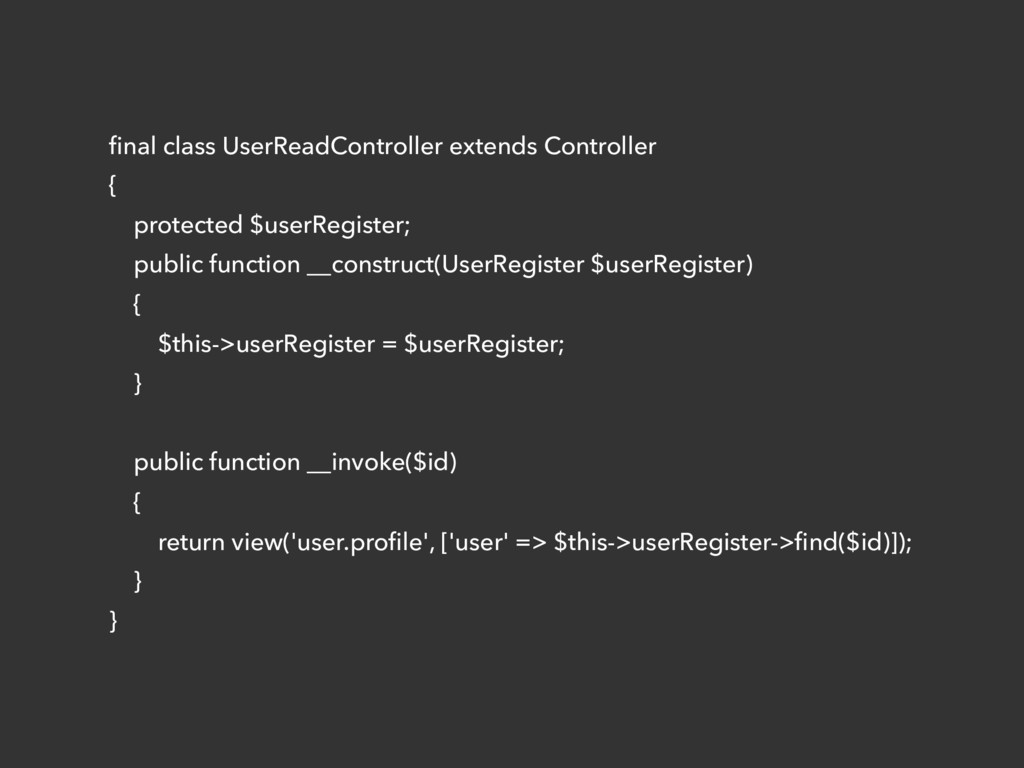 final class UserReadController extends Controlle...