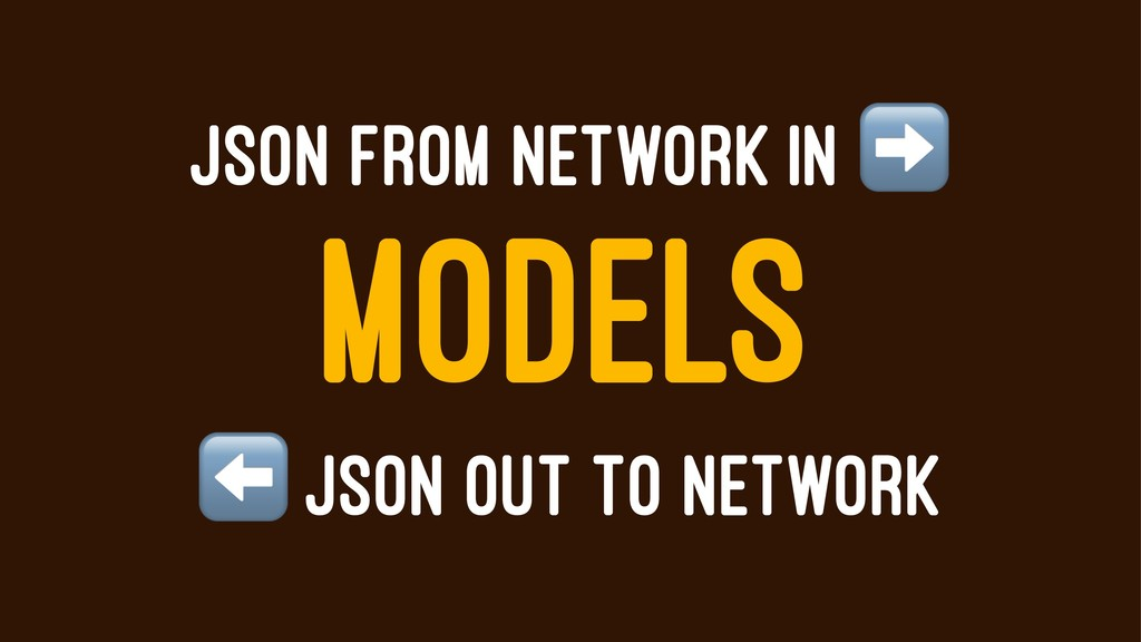 JSON FROM NETWORK IN MODELS ⬅ JSON OUT TO NETWO...