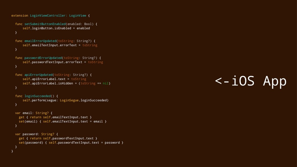 extension LoginViewController: LoginView { func...