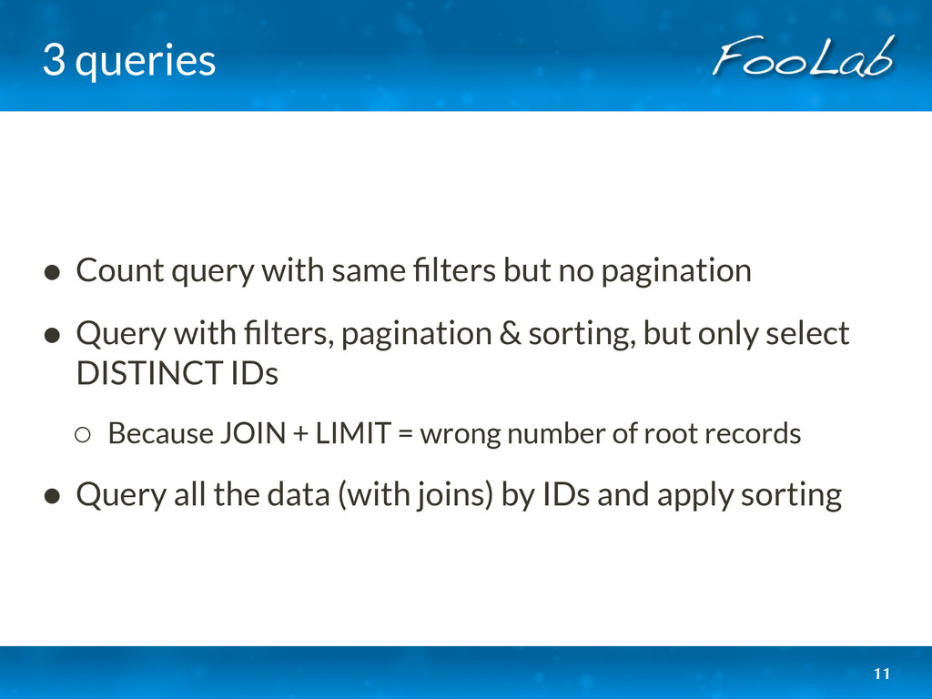 3 queries • Count query with same filters but no...