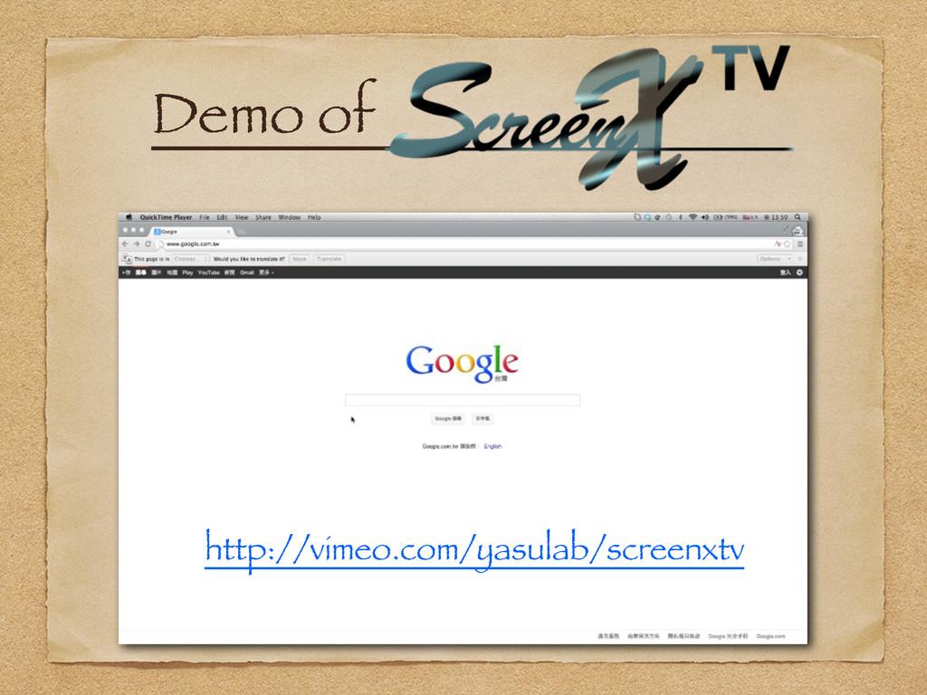 Demo ofɹ http://vimeo.com/yasulab/screenxtv