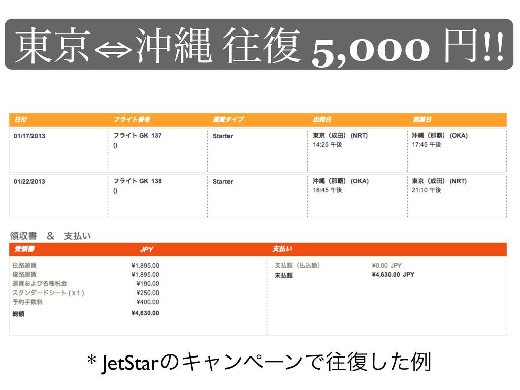 ౦ژ⇔ԭೄ ԟ෮ 5,000 ԁ!! * JetStarͷΩϟϯϖʔϯͰԟ෮ͨ͠ྫ