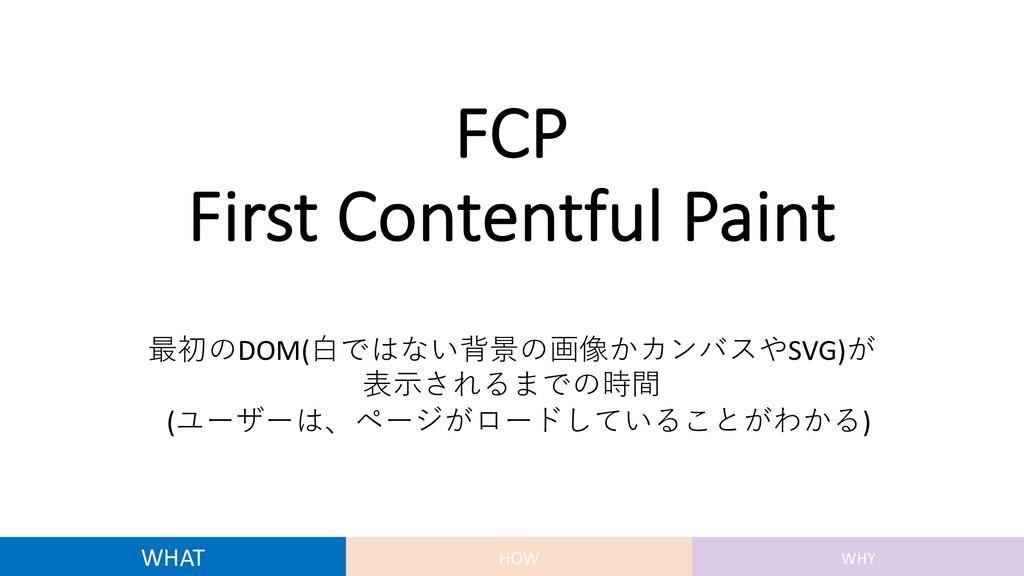 FCP First Contentful Paint 最初のDOM(⽩ではない背景の画像かカン...