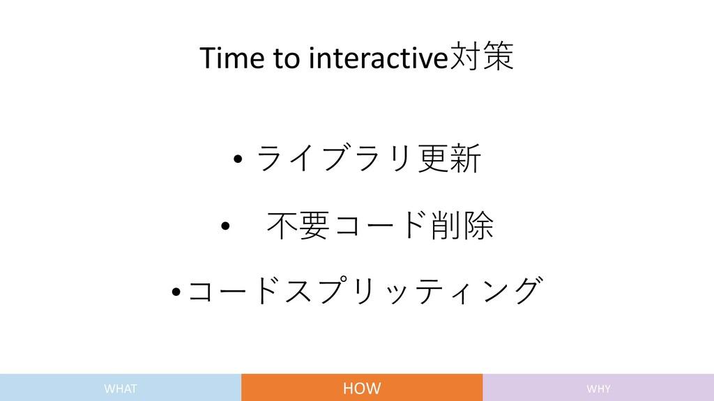 Time to interactive対策 • ライブラリ更新 • 不要コード削除 •コードス...