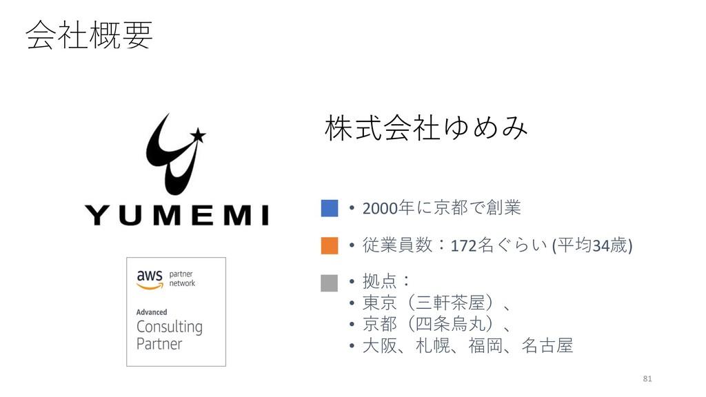 会社概要 81 • 2000年に京都で創業 • 従業員数:172名ぐらい (平均34歳) • ...