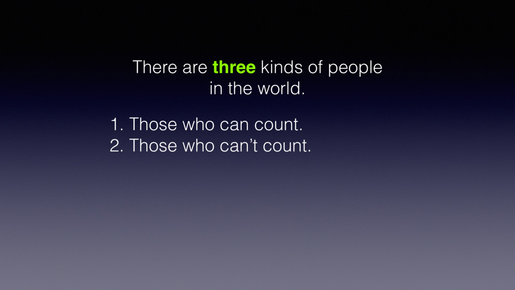 There are three kinds of people in the world. 1...