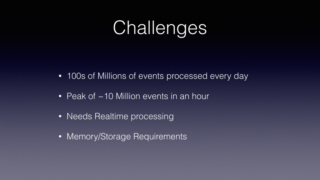 Challenges • 100s of Millions of events process...