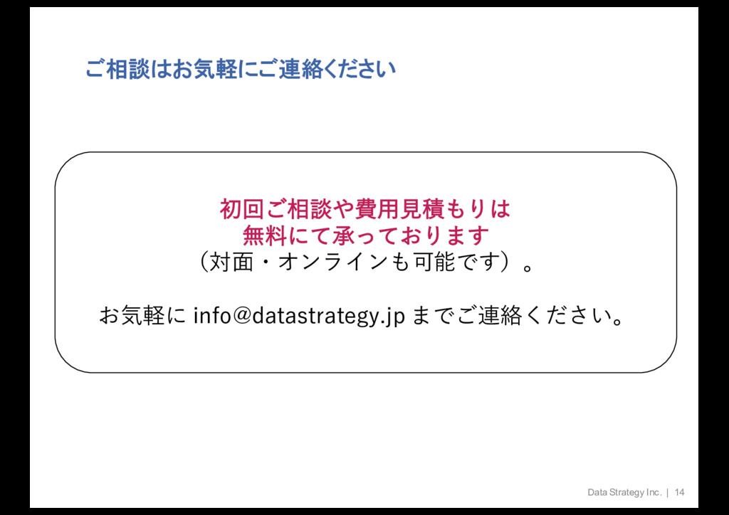 ご相談はお気軽にご連絡ください Data Strategy Inc. | 14 ॳճ͝૬ஊඅ...