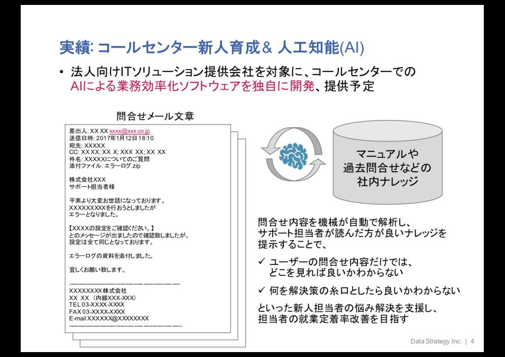 実績: コールセンター新人育成& 人工知能(AI) • 法人向けITソリューション提供会社を対...